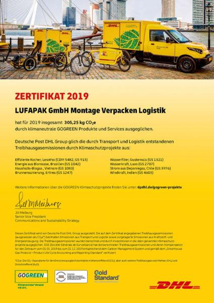 Dhl Gogreen Zertifikat Lufapak